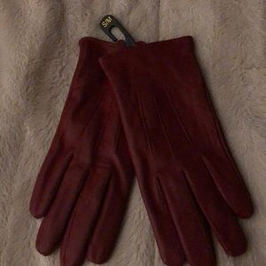 Accessories - Ladies red leather small/medium gloves
